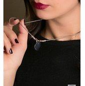 Collana catena palline Argento 925 Rosé, Pepite martellate e Sfere Argento 925, charm Cuore grande Argento 925