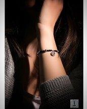 Bracciale Onice nero, Sfere e charm Moneta Argento 925 Rosè