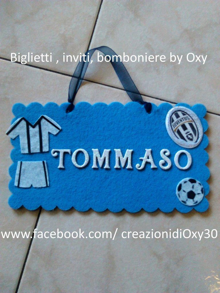 Targa, Fuoriporta, Calcio, cameretta Bimbo, azzurro.