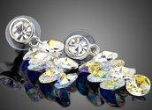 Orecchini con base a perno con cristallo trasparente e cascata di swarovski elements originali color crystal(trasparente aurora boreale) idea regalo per lei