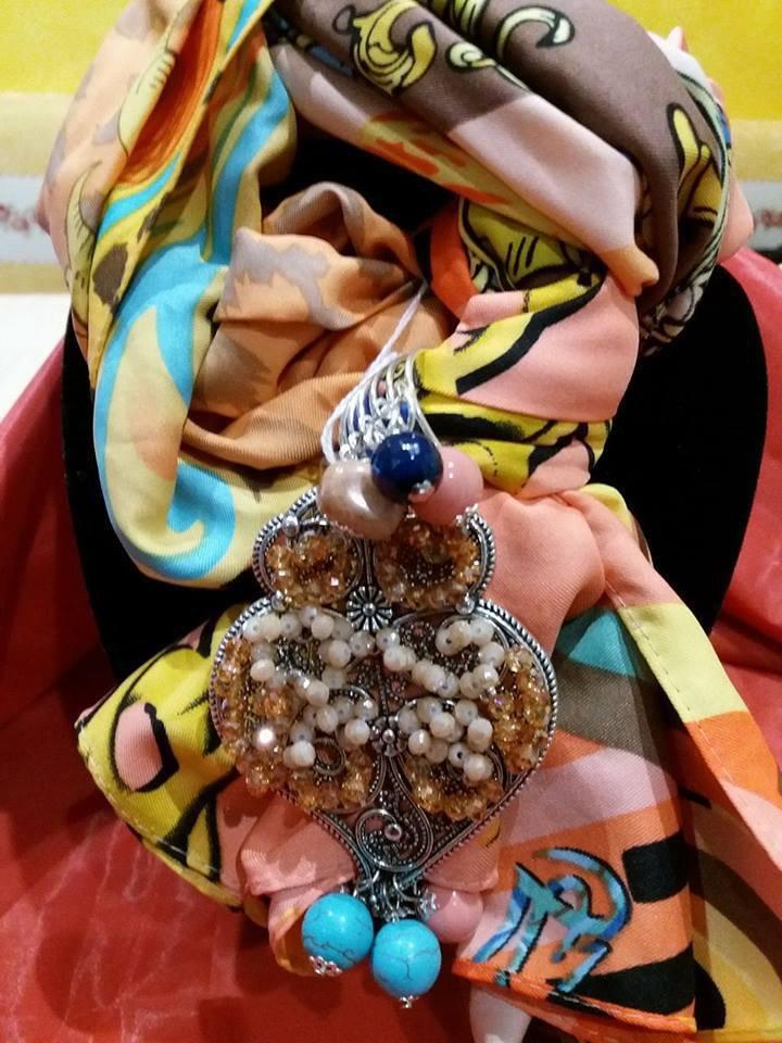 foulard decorato modello sciarpetta multicolor