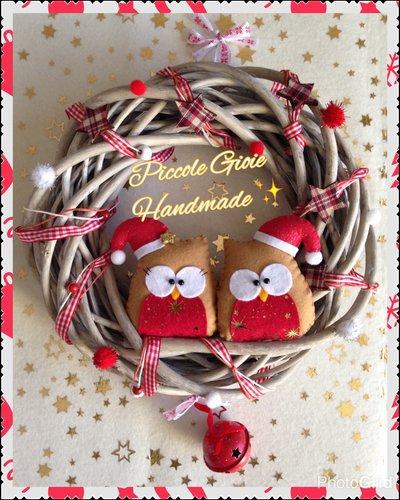 Ghirlanda natalizia con gufi