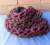 Infinity scarf lana, scaldacollo finger crochet