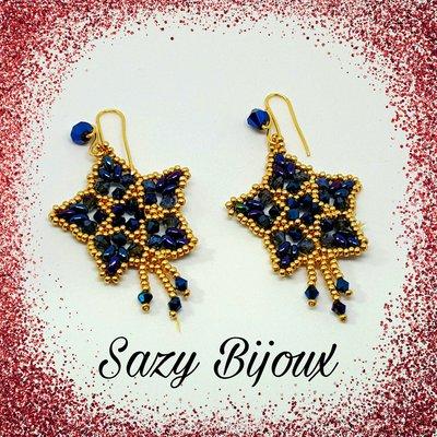STAR & STAR: Orecchini a Stella in tessitura di perline con Cristalli