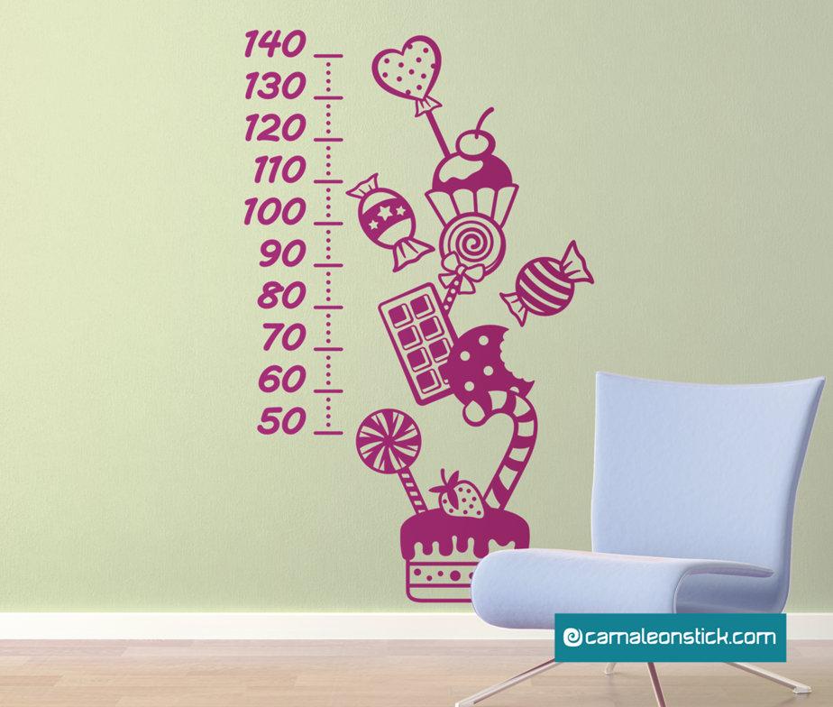 Metro da parete Dolci - adesivi murali - metro crescita - metrino - sticker da parete Mostriciattoli