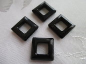 Square Ring Cristallo Swarovski mis 14 mm colore Jet