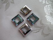 Square Ring Cristallo Swarovski mis 14 mm colore Crystal Vitrail Light