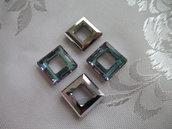 Square Ring Cristallo Swarovski mis 14 mm colore Crystal Vitrail Light