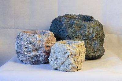 vasi pietra mix colori fatto a mano 3 misure