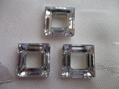 Square Ring Cristallo Swarovski mis 14 mm colore Crystal Comet Argent Light