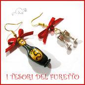 """Orecchini Natale """" Brindisi di mezzanotte """" Spumante champagne bicchieri idea regalo Fimo Kawaii"""
