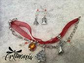 Parure di Natale Rosso e e Argento - Bracciale ed Orecchini con Cristallo e Perline in Vetro- Idea Regalo Natale