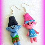 Orecchini in fimo handmade Trolls kawaii regalo epifania calza befana