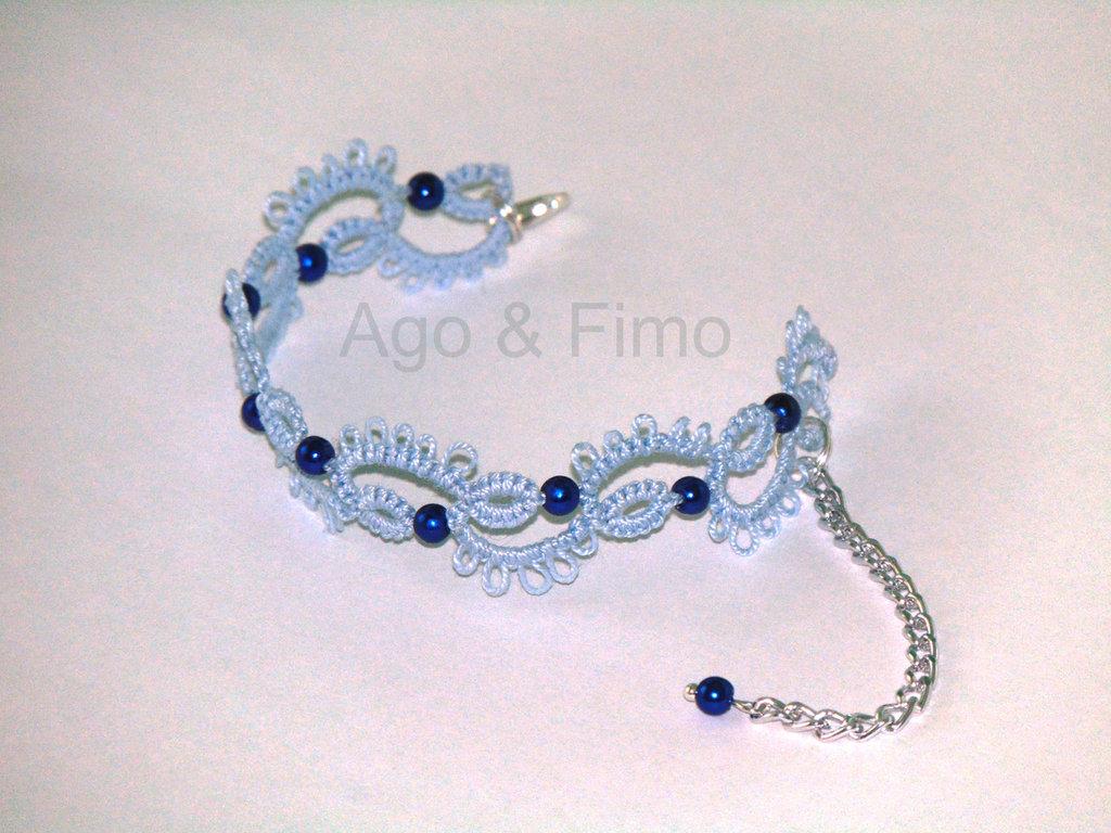 Braccialetto pizzo chiacchierino azzurro perle blu