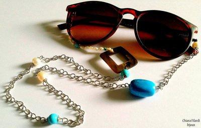 Cordino per occhiali con madreperla e turchiesi