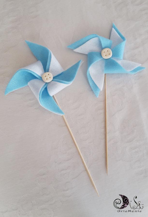 Spiedini bomboniere Girandole in feltro bianche e azzurre per battesimo bimbo, primo compleanno, segnaposto, confettate, segnagusto