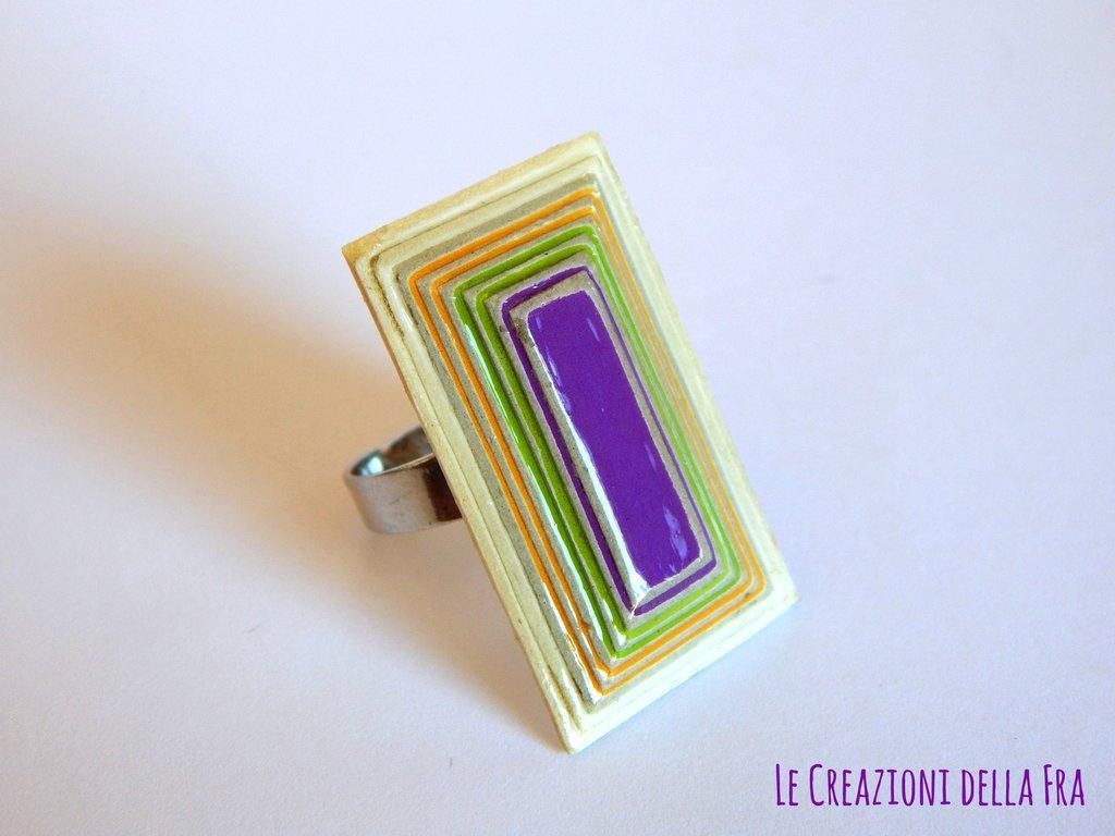 Anello rettangolo IN CARTONCINO RICICLATO - bianco, giallo, verde e viola