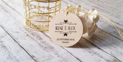 Targhette Matrimonio, Tags Matrimonio Ringraziamento, Biglietti Bomboniere, Etichette Kraft Ringraziamento