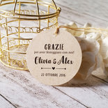 Tags Avana per Matrimonio, Biglietti Bomboniere, Targhette Matrimonio, Etichette Kraft Ringraziamento, 24pz