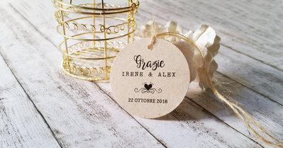 Tags Matrimonio, Biglietti Bomboniere, Targhette Matrimonio, Etichette Kraft Ringraziamento, 24 pz