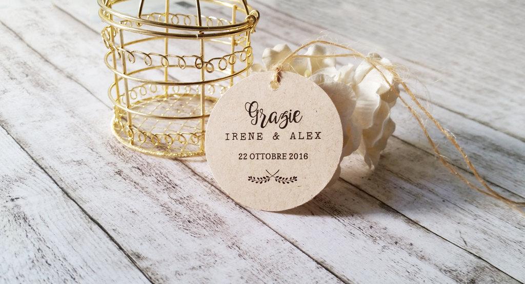 Tags Avana per Matrimonio, Biglietti Bomboniere, Targhette Matrimonio, Etichette Kraft Ringraziamento