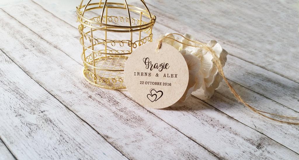 Tags Matrimonio Ringraziamento, Biglietti Bomboniere, Targhette Matrimonio, Etichette Kraft Ringraziamento