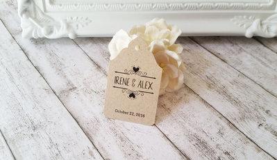 Bigliettini per Bomboniere in Carta Kraft Stile Rustic Chic, Etichette Personalizzabili per Matrimonio