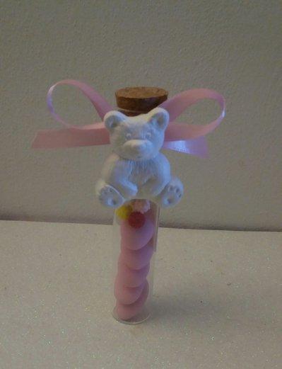 Bomboniera o segnaposto tubo vetro con tappo sughero e gessetto