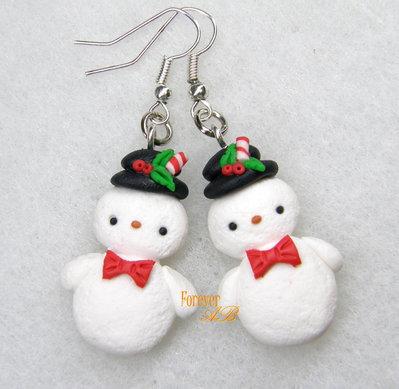 Orecchini  pupazzi di neve kawaii fimo regalo natale