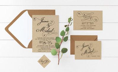 Partecipazioni Kraft Matrimonio, Partecipazioni Stile Rustico, Inviti Matrimonio Kraft, 20 Set