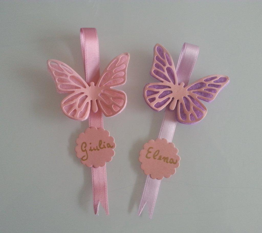 Matrimonio Tema Farfalla : Segnaposto personalizzato farfalla in feltro pendaglio