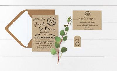 Partecipazioni Matrimonio in Carta Kraft, Partecipazioni Stile Boho Rustic Chic
