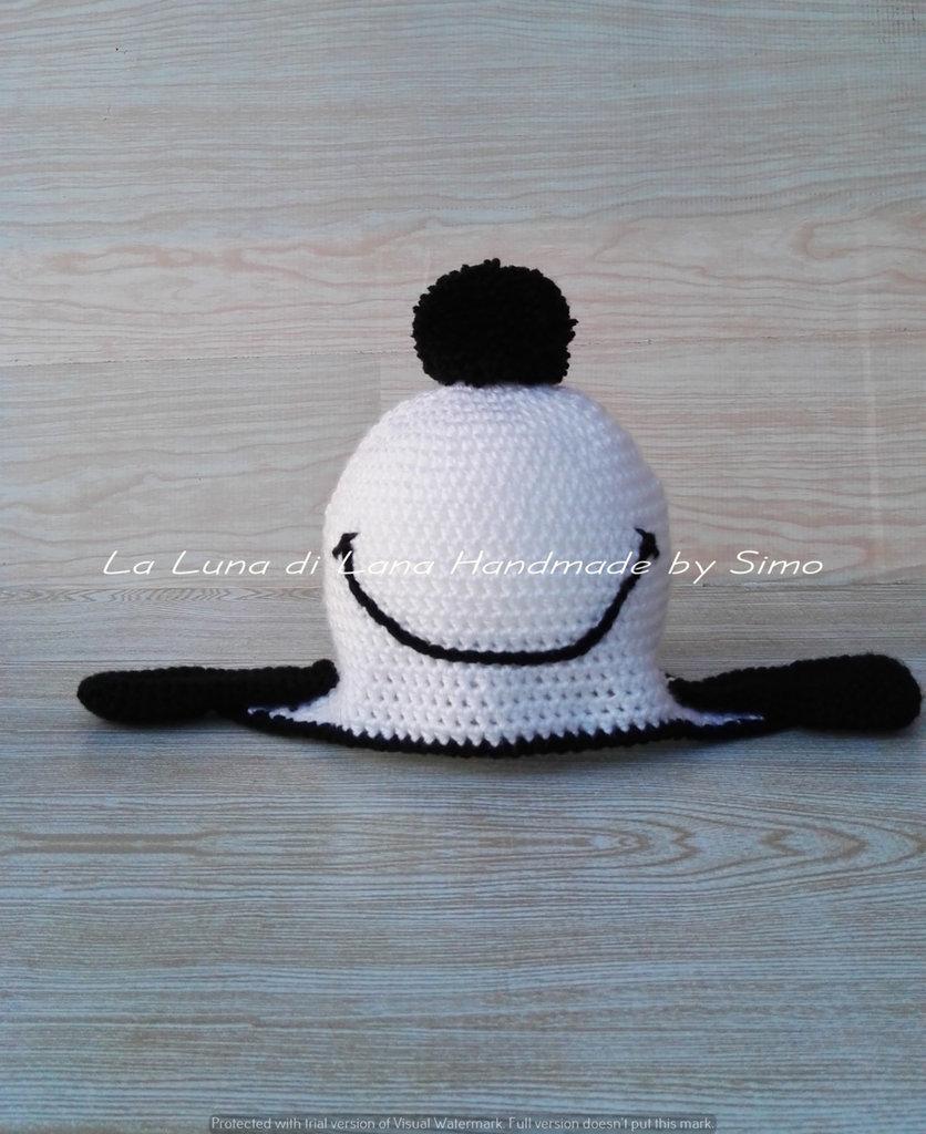 Cappello per bimbo, fatto ad uncinetto, in lana, ispirato a Snoopy