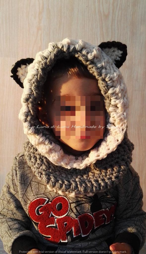 Cappuccio uncinetto con scaldacollo a forma di lupetto per bambino o bambina