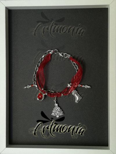 Bracciale Cristallo e Argento -Hand-made con Argento, Cristallo, Vetro Rosso Cracklé- Idea Regalo Natale