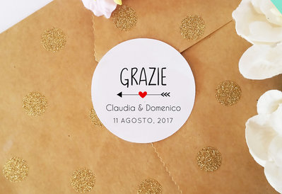 Adesivi Personalizzabili, , Chiudi Pacco Personalizzati, Etichette Adesive Matrimonio, 60 pz