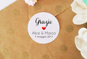 Etichette Autoadesive, Chiudi Pacco Adesivi, Biglietti Adesivi Ringraziamento per Bomboniere, Etichette Adesive Personalizzate