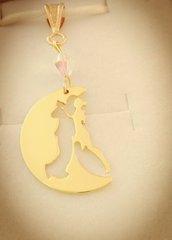 Ciondolo Media Luna bagnato oro giallo con swarovski Adornos Design