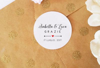 Adesivi Personalizzati per Bomboniere, Etichette Autoadesive Matrimonio, Adesivi Personalizzabili, 60 pz