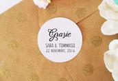 Adesivi Personalizzabili, Etichette Adesive Matrimonio, Cartellini Adesivi per Bomboniere, Adesivi Personalizzati, 60 pz