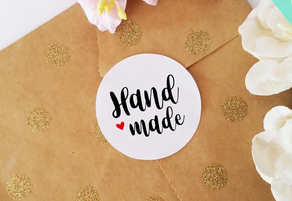 Adesivi Handmade, Etichette Adesive Handmade,Chiudi Pacco per Prodotti Fatti a Mano, 60 pz