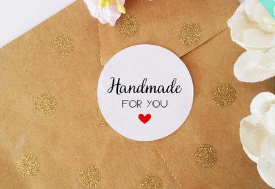 Etichette Adesive Handmade, Chiudi Pacco Adesivi, Adesivi per Buste