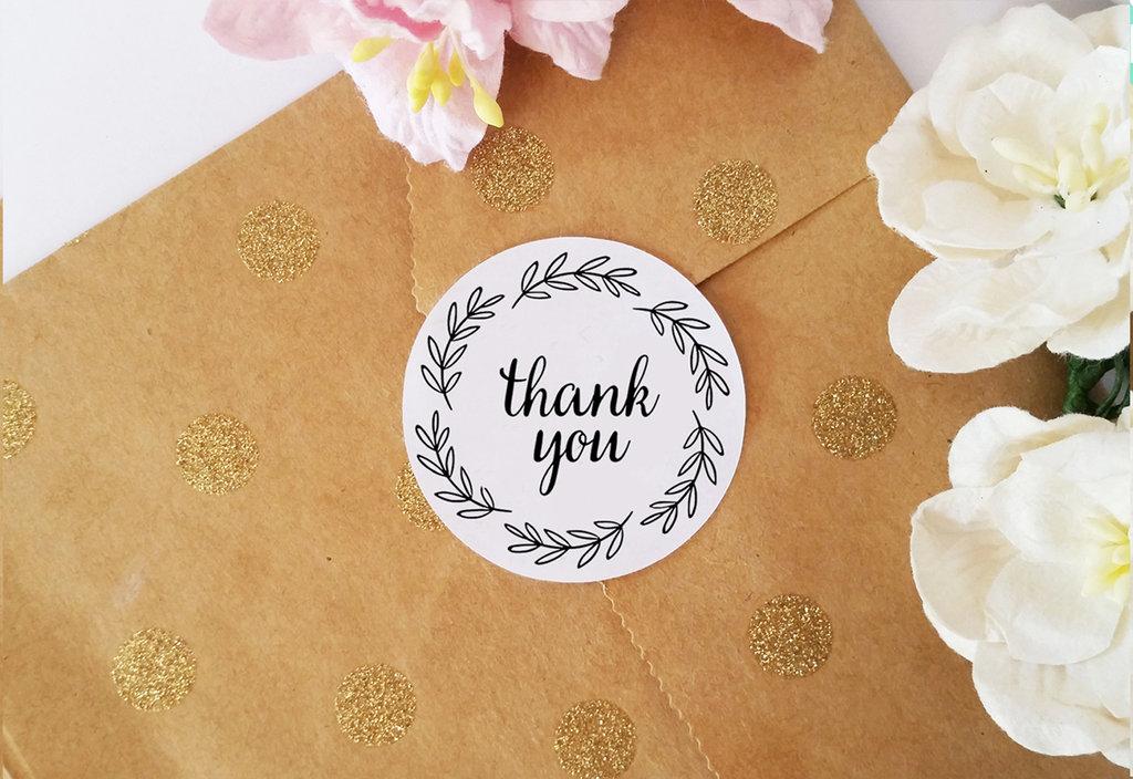 Adesivi Ringraziamento, Etichette Adesive Thank You per Bomboniere, Prodotti e Oggetti Fatti a Mano