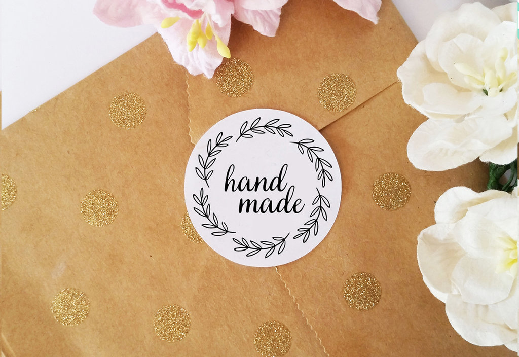 Etichette Adesive Handmade, Adesivi Chiudi Pacco per Buste, ,Adesivi per Prodotti Fatti a Mano, 60 pz