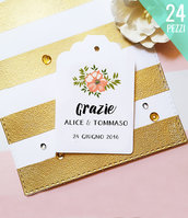 Etichette Ringraziamento, Etichette Floreali, Bigliettini Personalizzati Matrimonio, Etichette per Bomboniere