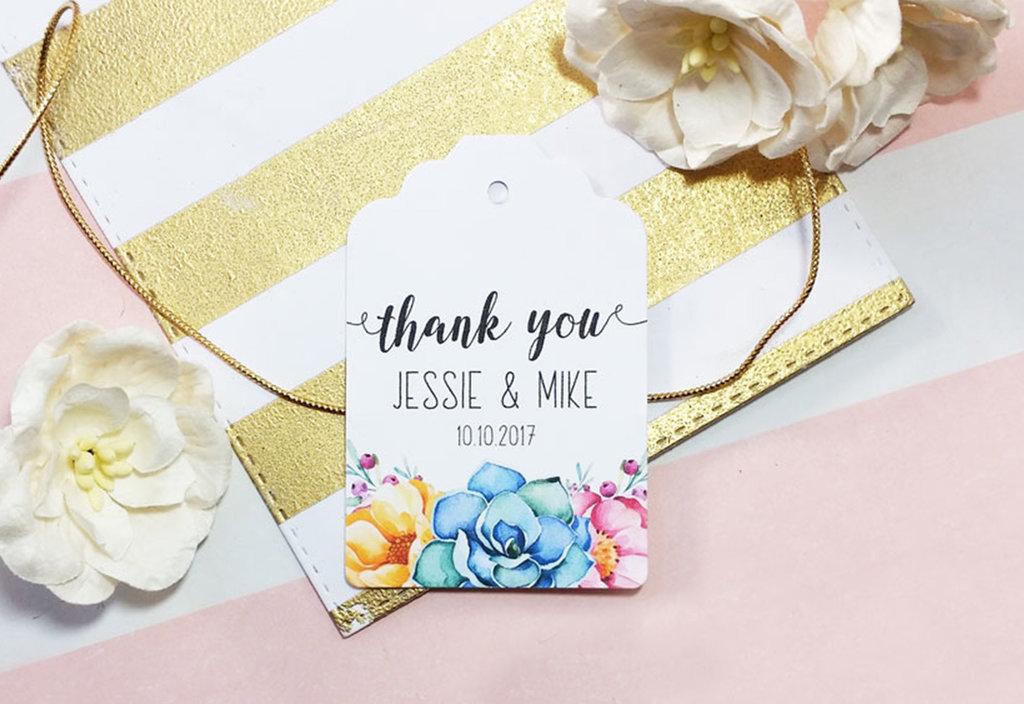 Targhette Floreali Personalizzate, Etichette Ringraziamento per Bomboniere, Etichette  Matrimonio