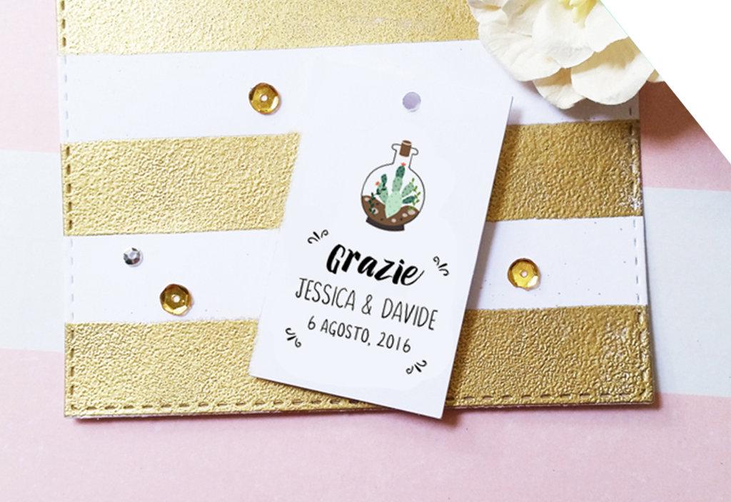 Etichette Piante Grasse per Bomboniere, Etichette Ringraziamento Personalizzate, Etichette Matrimonio, 24 pz