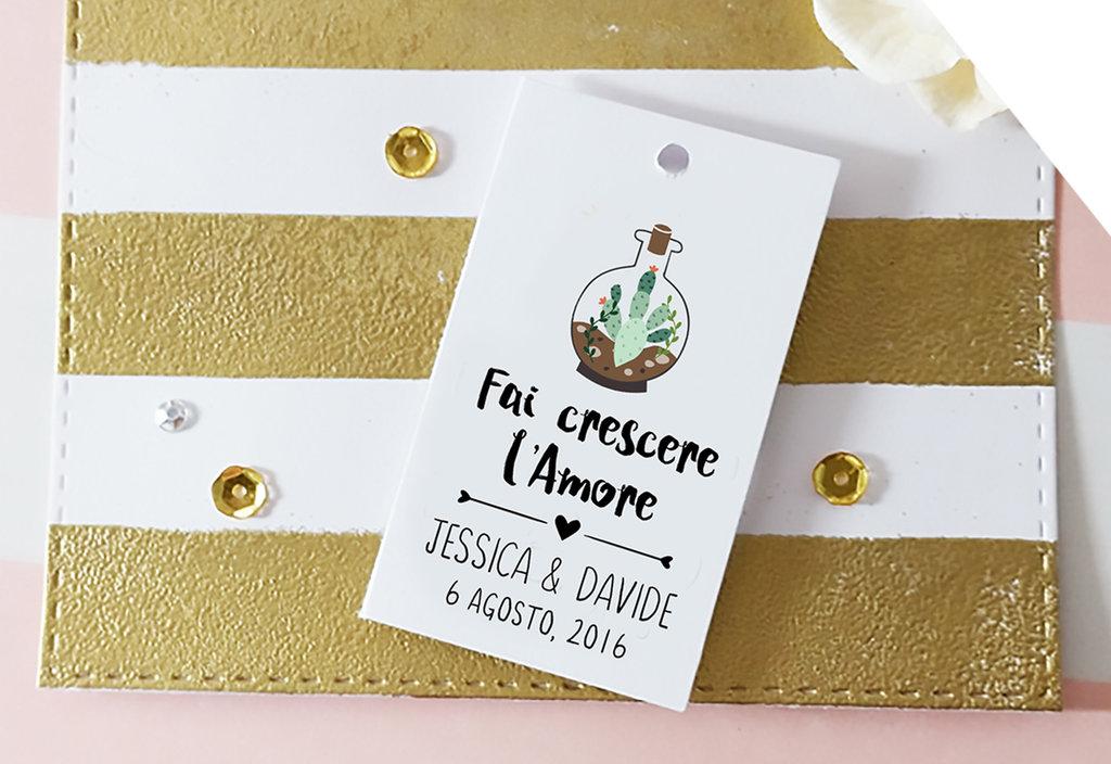 Tags Matrimonio, Etichette Bomboniere Personalizzate, Etichette Fai Crescere l'Amore, Caretllini Matrimonio, 24 pz