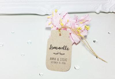 Tags Bomboniere, Etichette Limoncello, Etichette Barratolo, Targhette Matrimonio Personalizzate, 24 pezzi