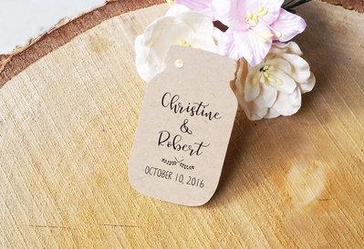 Etichette Bomboniere Barratolo, Targhette Matrimonio Personalizzate, Etichette Kraft, 24 pezzi
